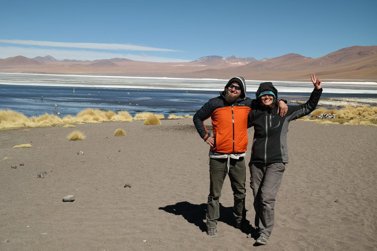 Honza and Alex at Laguna Colorada